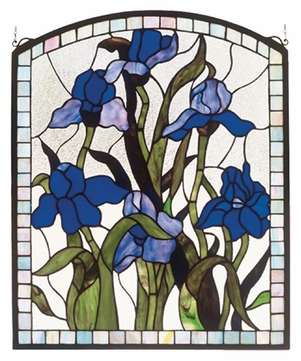 Meyda Tiffany 36074 Iris 20 Inch Wide Arched Square Stained Glass Wall Décor