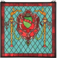 Meyda Tiffany 36143 Victorian Shield /Twin Torch Tiffany Stained Glass Window