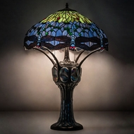 Meyda Tiffany 37946 Hanginghead Dragonfly Tiffany Mahogany Bronze Table Lamp