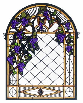 Meyda Tiffany 38327 Grape Diamond Trellis Stained Glass Arched 22 Inch Wide Wall Décor