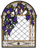 Meyda Tiffany 38656 Grape Diamond Trellis Tiffany Stained Glass Window