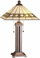 Meyda Tiffany 38689 Diamond Band Mission Tiffany Beige Green Avocado Table Lighting