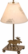 Meyda Tiffany 38855 Pressed Foliage Lone Moose Country Pressed Flower Lighting Table Lamp