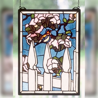 Meyda Tiffany 48001 Picket Fence 18 Inch Tall Stained Glass Window Home Wall Décor