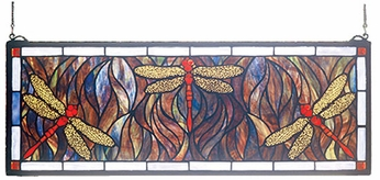 Meyda Tiffany 48091 Dragonfly Trio Tiffany Hanging Stained Glass Panel
