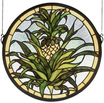Meyda Tiffany 48550 Welcome Pineapple Tiffany Stained Glass Window