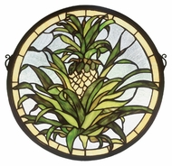 Meyda Tiffany 48550 Welcome Pineapple 16 Inch Diameter Circle Stained Glass Window Home D�cor