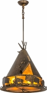 Meyda Tiffany 50156 Teepee w/ Buffalo Country Antique Copper / Amber Mica Pendant Lighting Fixture