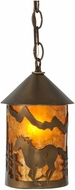 Meyda Tiffany 51060 Running Horse Country Antique Copper / Amber Mica Mini Hanging Pendant Light