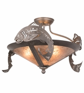 Meyda Tiffany 51074 Catch of the Day Trout Steel/Silver Mica Flush Mount Lighting Fixture