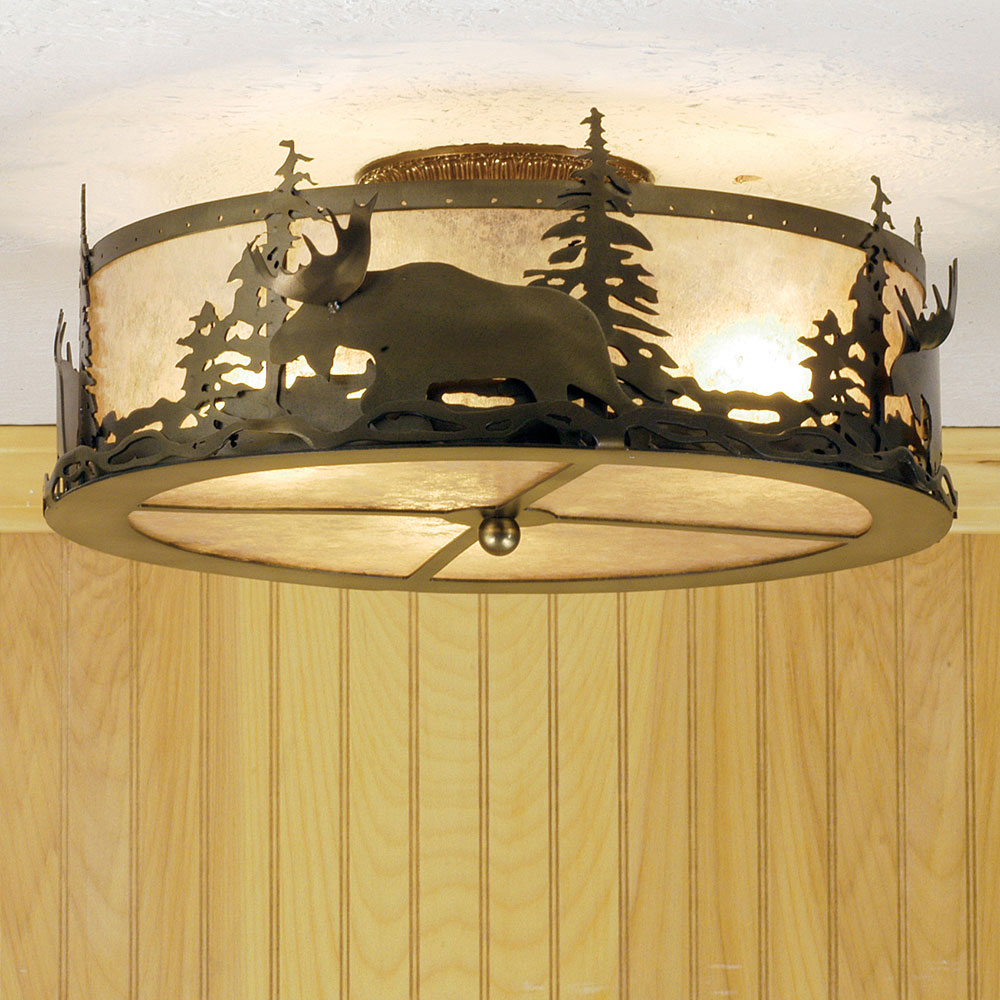 Meyda Tiffany 51095 Moose At Dusk Country Antique Copper Silver Mica Flush Mount Ceiling Light Loading Zoom