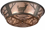 Meyda Tiffany 51233 Deer on the Loose Country Antique Copper / Silver Mica Flush Lighting