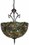Meyda Tiffany 52187 Trillium & Violet Tiffany Mahogany Bronze Hanging Light Fixture