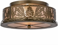 Meyda Tiffany 65099 Mountain Pine Country Antique Copper / Silver Mica Ceiling Lighting Fixture