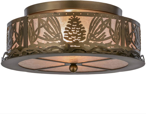 Meyda Tiffany 65099 Mountain Pine Country Antique Copper Silver Mica Ceiling Lighting Fixture