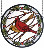 Meyda Tiffany 65289 Cardinals and Holly Round Tiffany Hanging Stained Glass Panel