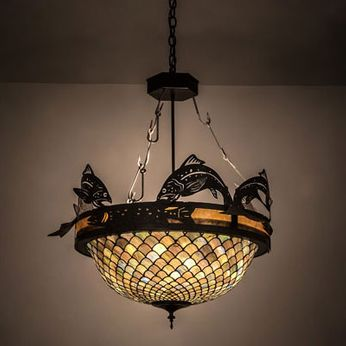 Meyda Tiffany 65857 Catch of the Day Country Timeless Bronze Hanging Pendant Lighting