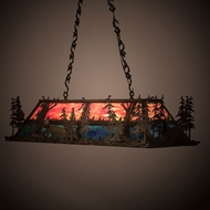 Meyda Tiffany 66123 Moose Through the Trees Country Antique Copper / Blue / Green Kitchen Island Light Fixture