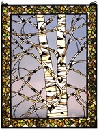 Meyda Tiffany 66636 Birch Tree in Winter Tiffany Stained Glass Window
