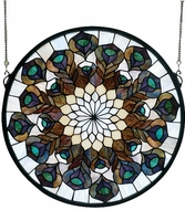 Meyda Tiffany 66805 Peacock Feather Medallion Hanging Stained Glass Art