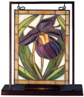 Meyda Tiffany 68351 Wildflowers Lady Slipper Tiffany Mini Table Top Stained Glass Window Art