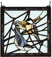 Meyda Tiffany 68387 Early Morning Visitors Birds Stained Glass Window Art