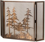Meyda Tiffany 68388 Tall Pines Country Antique Copper Fireplace Screen