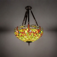 Meyda Tiffany 69271 Tiffany Hanginghead Dragonfly Mahogany Bronze Ceiling Light Fixture