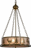 Meyda Tiffany 70718 Wildlife at Dusk Rustic Antique Copper / Silver Mica Pendant Lighting