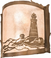Meyda Tiffany 71391 Lighthouse Country Silver Mica Antique Copper Light Sconce