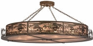 Meyda Tiffany 71392 Tropical Floral Beach Antique Copper/Silver Mica Flush Ceiling Light Fixture