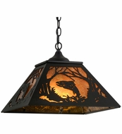 Meyda Tiffany 74031 Northwoods Leaping Trout Rustic Black / Amber Mica Pendant Lighting Fixture