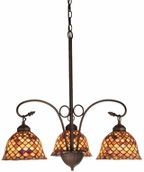 Meyda Tiffany 74045 Amber Fishscale Tiffany Three Lamp Chandelier Ceiling Light