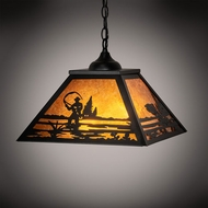 Meyda Tiffany 76314 Fly Fishing Creek Rustic Black Lighting Pendant