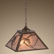Meyda Tiffany 76316 Whispering Pines Country Antique Copper / Silver Mica Hanging Light Fixture