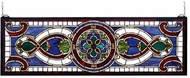 Meyda Tiffany 77907 Evelyn in Lapis Transom Tiffany Burgundy Beige Transom Stained Glass Window