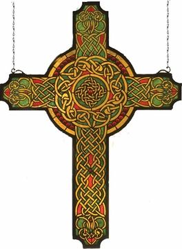 Meyda Tiffany 79986 Jeweled Celtic Cross Tiffany Hanging Stained Glass Art