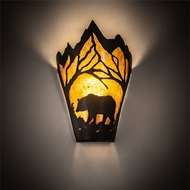 Meyda Tiffany 81465 Bear at Dawn Rustic Textured Black Fluorescent Wall Light Fixture