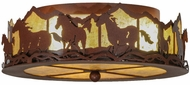 Meyda Tiffany 81503 Wild Horses Rust Finish 16  Wide Ceiling Light Fixture