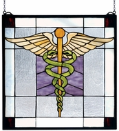 Meyda Tiffany 81519 Doctor is In Tiffany Hanging Stained Glass Panel