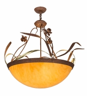 Meyda Tiffany 81638 Daffodil Country Hand Painted Rust Flush Mount Ceiling Light Fixture
