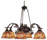 Meyda Tiffany 81860 Amber Fishscale 6 Light Tiffany Chandelier Ceiling Light