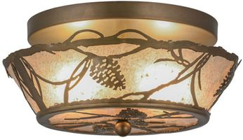 Meyda Tiffany 82538 Whispering Pines Country Antique Copper / Silver Mica Flush Mount Lighting Fixture
