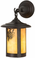 Meyda Tiffany 90973 Fulton Winter Pine Rustic Beige Craftsman Exterior Wall Lighting Sconce