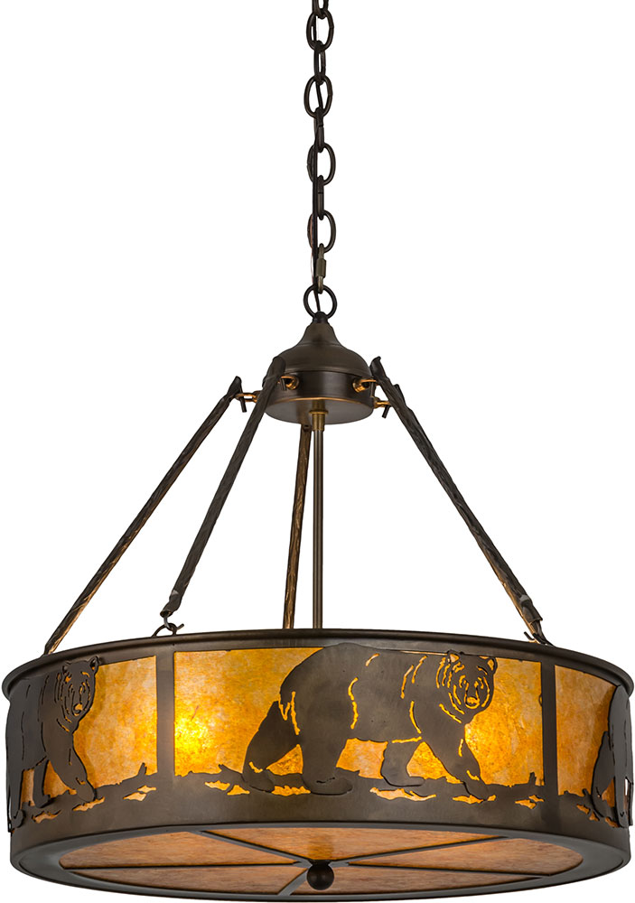 incredible Northwoods Lighting Fixtures Part - 7: Meyda Tiffany 98440 Northwoods Lone Bear Country Antique Copper - Amber  Mica Drum Drop Ceiling Light. Loading zoom