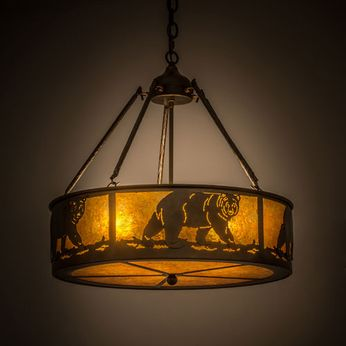 Meyda Tiffany 98440 Northwoods Lone Bear Country Antique Copper / Amber Mica Drum Drop Ceiling Light Fixture