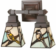 Meyda Tiffany 98519 Backyard Friends Tiffany Seafoam Beige Grey 2-Light Bathroom Light