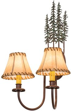 Meyda Tiffany 98727 Tall Pines Country Rust Finish 19 Tall Lamp Sconce