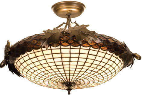 Meyda Tiffany 98966 Acorn And Oak Leaves 21 5 Inches Wide 2 Bulb Semi Flush Mount Loading Zoom
