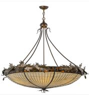 Meyda Tiffany 98967 Acorn and Oak Leaves 46 inches wide 6 Bulb Ceiling Light
